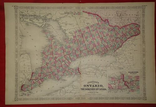 Vintage 1868 ONTARIO, CANADA MAP Old Antique Original Johnson Atlas Map