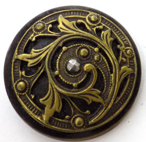 8 Bronze & Gold Colored Metal Dome Buttons Raised Trailing Leaves, Flowers