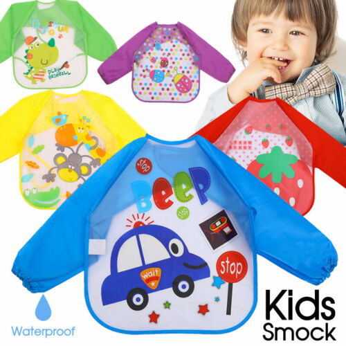 New Long Sleeve Kids Baby Bibs Bib Apron Waterproof Art Smock Feeding Toddler AU