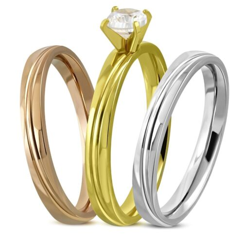 Ring Engagement Solitary Marriage Steel Woman Trio Gold Silver Bronze Vrr