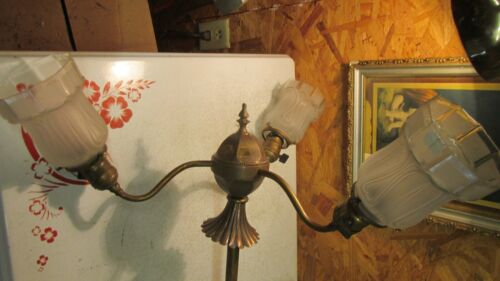 Antique 3 Arm Brass Chandelier & 3 Art Nouveau Shades