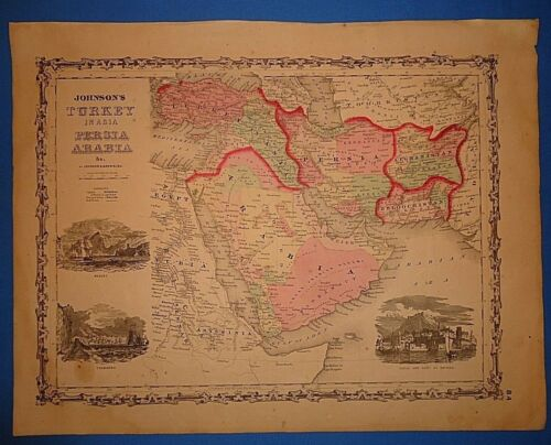 Vintage 1861 PERSIA - ARABIA MAP ~ Old Antique Original Johnson Atlas Map 102218