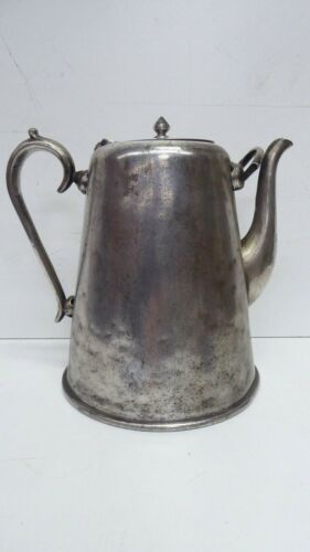 ANTIQUE FARMHOUSE CAFETERIA CWA STYLE CRUSADER PLATED SILVER TEAPOT COFFEE POT