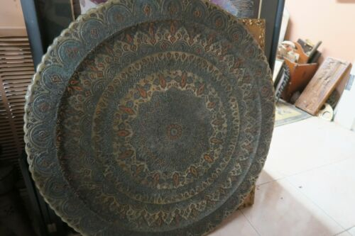 HUGE ANTIQUE ISLAMIC MOSQUE DOME DESIGN COPPER TABLE WALL TRAY HAND ETCHED 33""