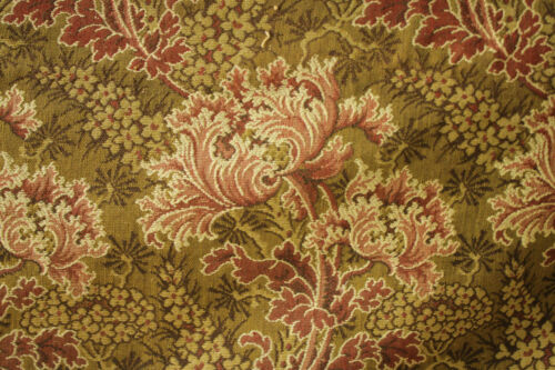 Antique French fabric 19th century jacquard weave red & green tones 39x48 inch