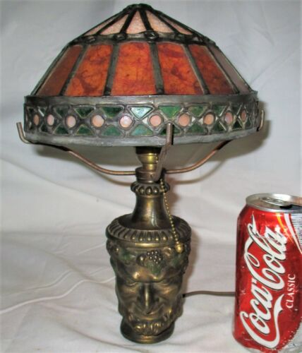 ANTIQUE BRADLEY HUBBARD BACCHUS WINE MAN JEWELED ART GLASS LAMP SCONCE LIGHT B&H