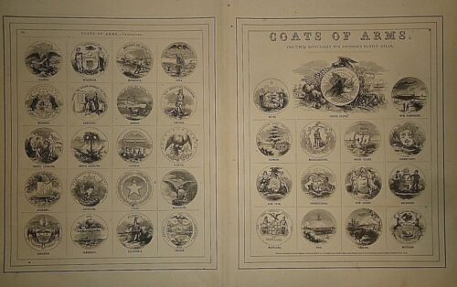 Vintage 1865 UNITED STATES - STATES COATS of ARMS Old Original Illustration 1418