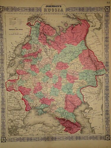 Vintage 1865 RUSSIA MAP Old Antique Original Atlas Map 41418