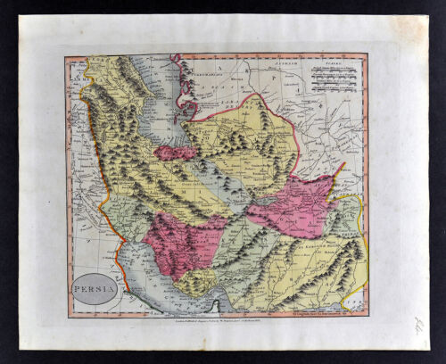 1812 Darton Union Atlas Map Persia Iran Caspian Sea Tehran Isfahan Shiraz Tabriz