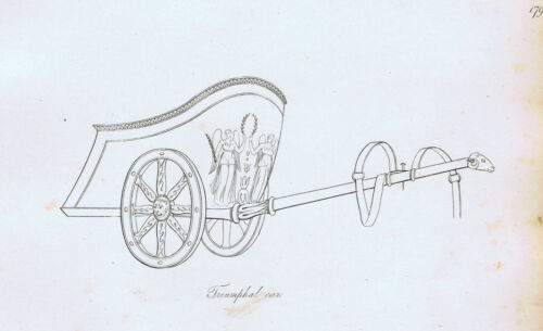 Roman Chariot - Triumphal Car - 1809 Copper Plate Engraving