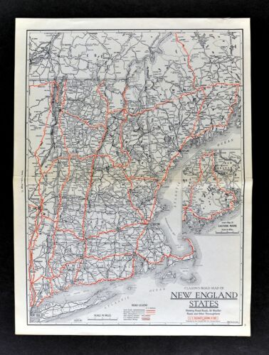 1930 Clason Auto Road Map New England Massachusetts Connecticut Maine Vermont