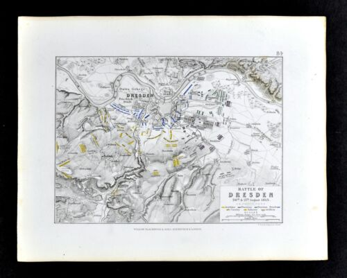 1855 Alison Military Map Napoleon Battle of Dresden 1813 Germany Elbe River