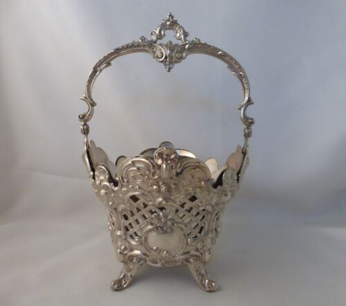 Pierced Ornate German 800 Sterling Footed Basket with Silverplate Liner