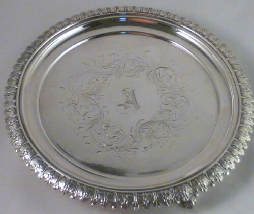 """COIN SILVER LINCOLN & REED BOSTON FANCY FOOTED SALVER-8 1/2"""""""