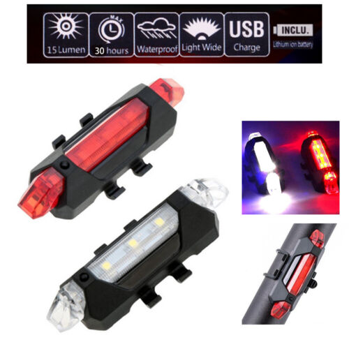 USB Rechargeable 5 Tail LED Bicycle Head Light Tail Light Warning White Red