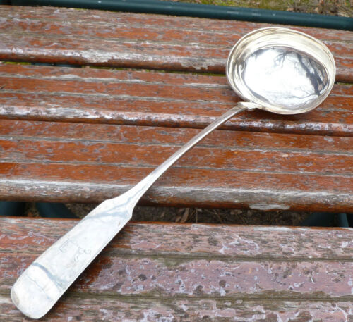13 Inch Large Punch Ladle Fiddle Tipped 12 Loth Silver Hanover