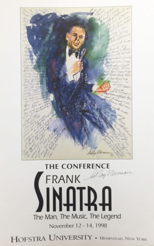 """LeRoy Neiman """"The Conference"""" Frank SINATRA Hofstra HAND SIGNED Lithograph Print"""