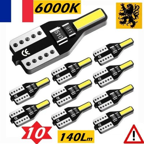 ⚠️ 10x T10 W5W LED 2 SMD 7020 140Lm ⚡ Blanc 6000k ✨ 12V Ultra Compacts ISO ✅