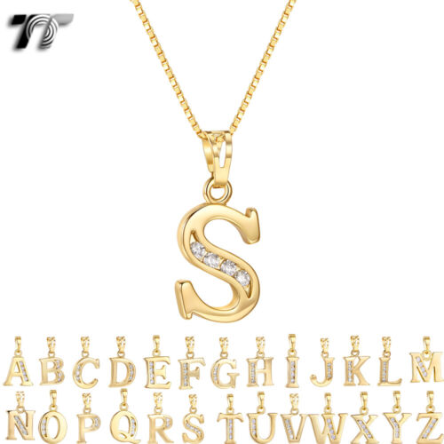 TT 18K Gold GP Inital Letter Pendant Necklace With Box Chain (NP327)  NEW