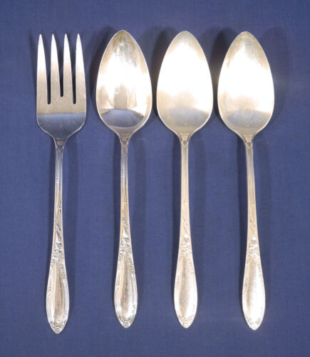 Oneida 1881 Rogers Silverplate Chateau 1 Cold Meat Fork + 3 Table Serving Spoons