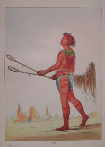 GEORGE CATLIN - 1926 - PLATE 124 - CHOCTAW BALL PLAYER - GENUINE & AUTHENTIC