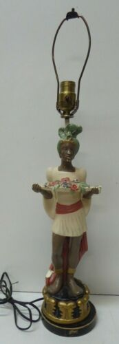 ANTIQUE PLASTER STATUE LAMP BASE BLACKAMOOR MAN WITH FRUIT BOWL KUPUR FIGURINE