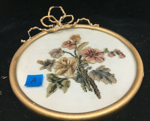 Framed Floral Tapestry Beaded Needlepoint Antique Frame #A Gesso Round LOVELY