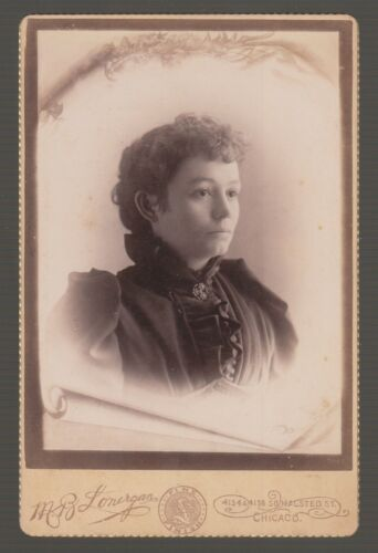 [*73093] 1880's CABINET PHOTO OF BEAUTIFUL WOMAN by M.B. LONERGAN, CHICAGO