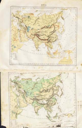 1867 Guyot Physical & Political Maps of Asia - Clearance Item