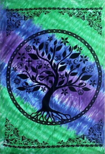 """Tree Of Life / Multifaith Tapestry 58"""" x82"""" 100% Cotton"""