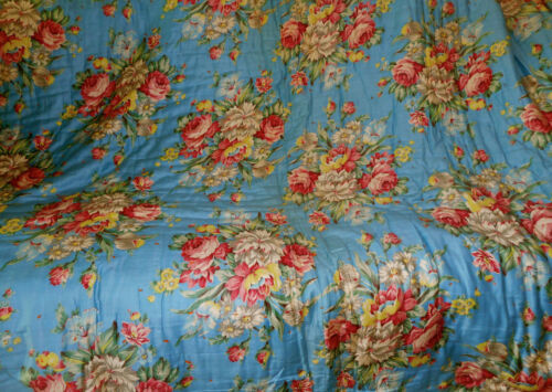 Vintage Shabby Cottage Roses Foral Fabric Tied Comforter Quilt ~Pink Blue Yellow