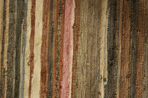 Vintage RAG RUG French ractangular carpet 56 by 77 inches multicolored stripes