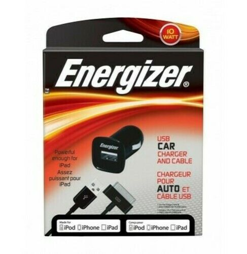 Energizer - Car Charger Black 10W 2.1A + USB Cable 30 Pins Mfi (IPHONE IPAD)