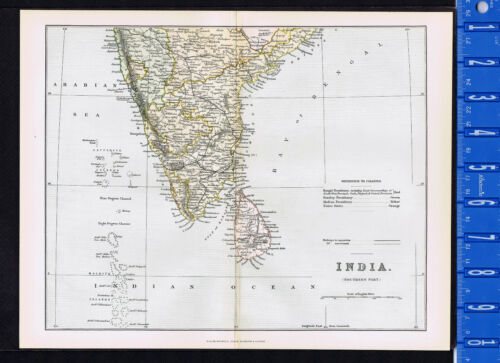SOUTHERN INDIA: 1885 Mackenzie Color Map