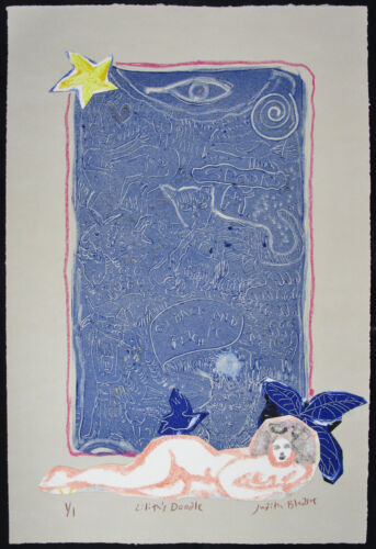 Judith BLEDSOE, Original Mixed Media Drawing w/ Pastel, Lilith's Doodle, Signed