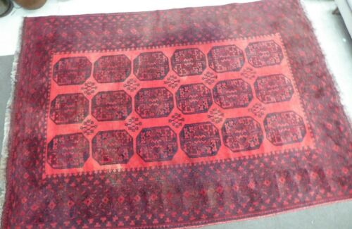 ANTIQUE PERSIAN EASTERN TRIBAL HAND KNOTTED WOOLLEN WOVEN RED FLOOR RUG CARPET