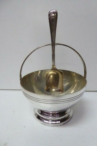 ANTIQUE SILVER PLATED ART DECO SUGAR BOWL AND SPOON