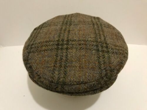 MEN'S SCOTTISH HARRIS TWEED PURE WOOL COUNTY TWEED FLAT CAP GREEN FLECKS GOLD