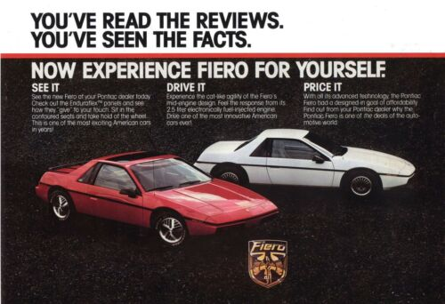 1986 PONTIAC FIERO WHITE AND RED  POSTER | 24X36 inch |