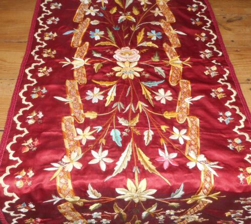 Exquisite Antique French Floral Embroidered Long Silk Runner~Ruby Red Blue Olive