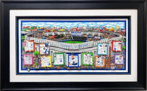 """Charles Fazzino """"In a Yankee State of Mind"""" FRAMED Signed & # Pop Art Baseball"""