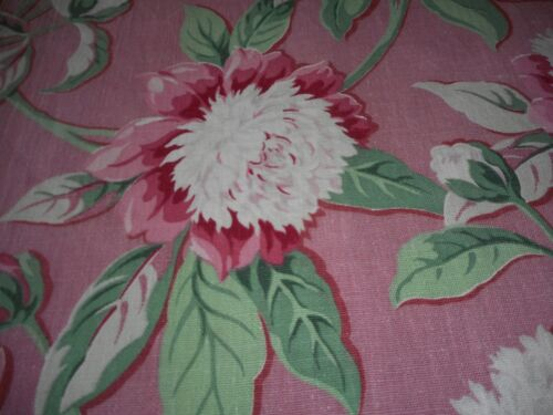 Vintage Peony Floral Cotton Fabric ~ Mauve Pink Green