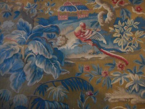 Antique French Chinoiserie Pagoda Bird Cotton Fabric #2~ Softened Red Blue Brown