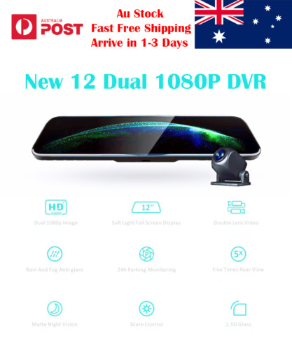 "12"" New Dash Camera ADAS Rearview Mirror Dual 1080P DVR Reverse Camera Car Video"