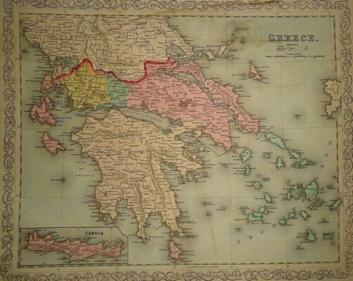 Vintage Dated 1859 DESILVER MAP ~ GREECE - CANDIA Old Antique Authentic