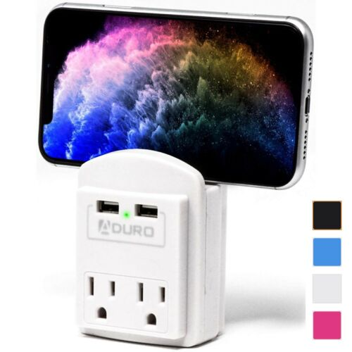 Aduro Surge Dual USB 2 Outlet Charging Station Wall Charger Phone Holder Home