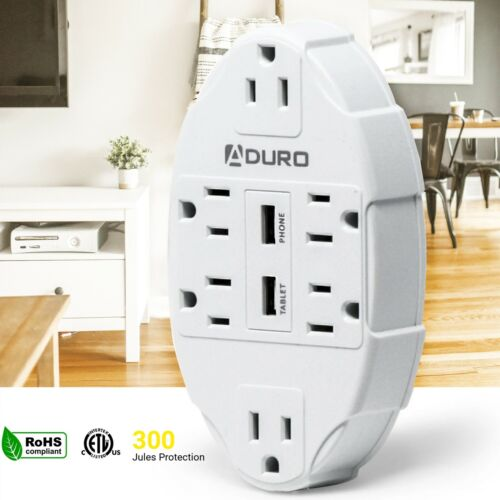 Aduro Surge Wall Charging Station 6 Outlets Dual USB Ports Power Strip Extender