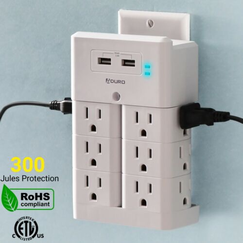 Aduro Surge Wall Charging Tower w/ 12 Outlets & Dual USB Port Wall Smart Charger