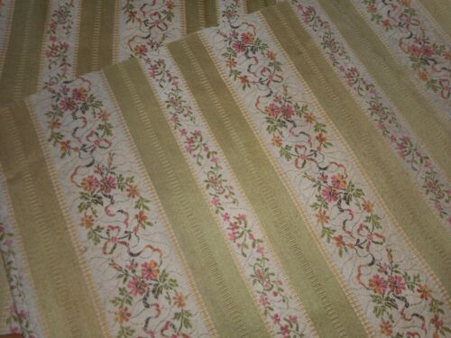 Antique French Yellow Floral Lisere Cotton Brocade Jacquard Fabric #3 ~ Aged