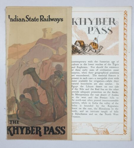 THE KHYBER PASS - 1930's Illustrated Guide INDIAN STATE RAILWAYS